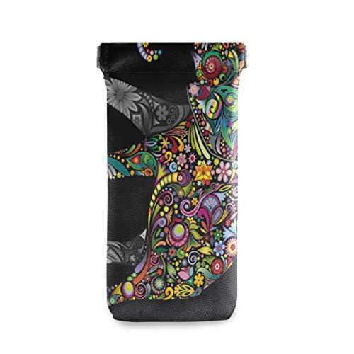 XiangHeFu bloemenolifant dier bloem kleurrijke zwarte bril tas bril zak multiuse zonnebril geval draagbare gift houder