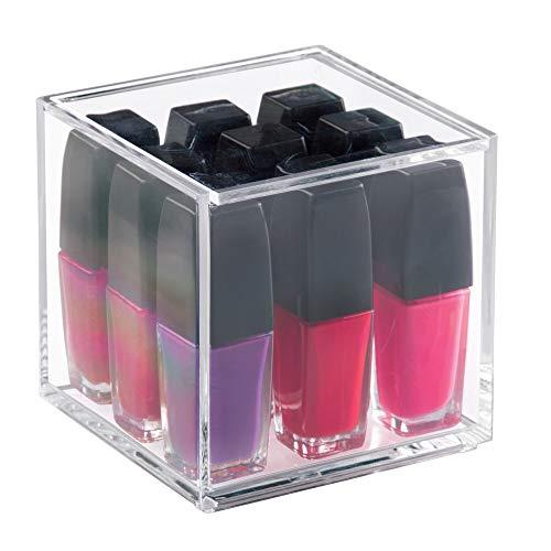 iDesign Organizador de maquillaje con tapa (10,2 x 10,2 x 10,2 cm), caja de belleza pequeña en plástico sin BPA, organizador de cosméticos apilable de acrílico, transparente