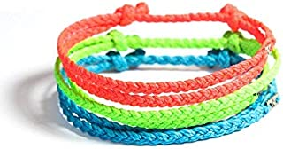 Wakami Handmade Braided Bracelet | Set Of 3, Double Strand, Summer Bracelet, String Bracelet | Wax Coated String, 6.5-10in...