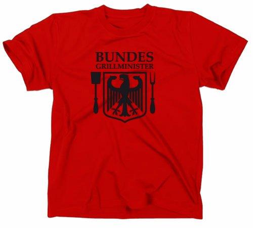 Bundesgrillminister Grill Fun T-Shirt Grillgott Instructor, BBQ, rot, XXL