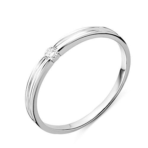 Miore - Anello di fidanzamento da donna in oro bianco con diamante solitario, 9 carati (375), con brillante 0,05 ct e Oro bianco, 50 (15.9), cod. M9154R50