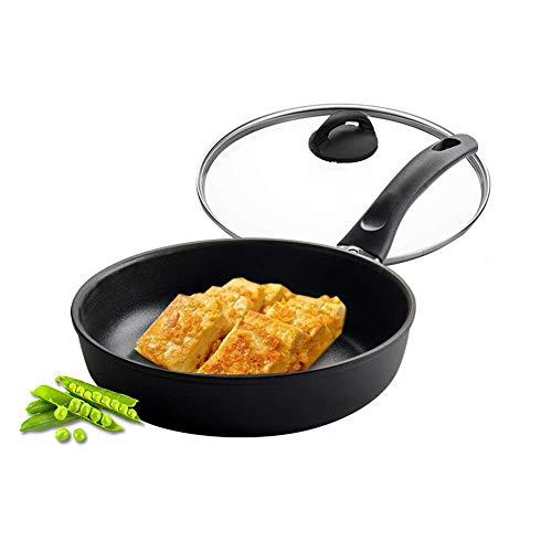 Utensilios de cocina de aluminio profesional cacerola del saltar 24cm antiadherente con tapa de vidrio - Apto for todas las Placas no incluye cocina de inducción - frío al tacto de silicona Mango 1yes