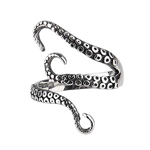 Ogquaton Pulpo negro premium con anillo de personalidad ajustable para hombre retro que se abre