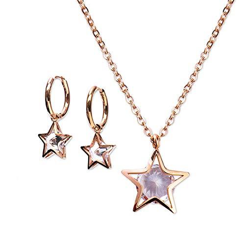 LuckyLy – Set Juego de Joyería para Mujer Zirconia Cúbica de Estrellas CIRA – Aretes y Collar de Acero Inoxidable con Baño Oro Rosa 18k – Regalo Mujer Cumpleaños, Regalos Mujer Navidad