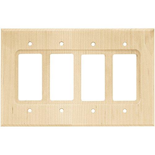 Franklin latón w10851-un-c cuadrado decoración de Quad placa de pared/Switch Plate/cubierta, pendientes de madera