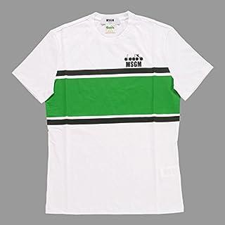 【エム・エス・ジー・エム】 MSGM DIADORA Printed T-Shirt 2340MM304 174776 01 ディアドラ コラボ ロゴ プリント Tシャツ ホワイト グリーン 【並行輸入品】