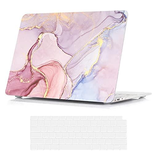 BELK Compatible con MacBook Pro de 13 pulgadas 2020 2019 2018 2017 2016 Touch Bar A2338 M1 A2289 A2251 A2159 A1989 A1706 A1708, patrón impresión delgada, carcasa rígida cubierta teclado, mármol rosa