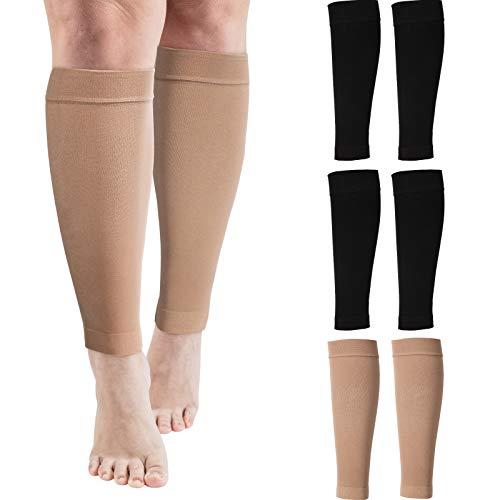 3 pares de calcetines de compresión de pantorrilla de 20.0in de ancho y tamaño grande para compresión de circulación, mangas largas de piernas de 20 a 30 mmHg para pantorrilla y músculos de compresión, para mujeres y hombres
