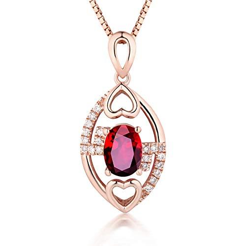 Daesar Halskette 750 Gold Damen Herz mit Rubin 1ct Anhänger Kette Hochzeit Rosegold Charms