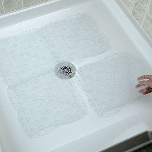 SlipX Solutions Versatile Expandable Bath & Shower Safety Mat System with Powerful Microban Antimicrobial Product Protection, Fits Any Size Bath Tub or Shower (Custom Size, Clear)