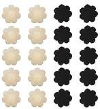 Nipple Breast Covers, Disposable Breast Pasties Adhesive Bra Nippleless Cover (Black 10 Pairs + Beige 10 Pairs)