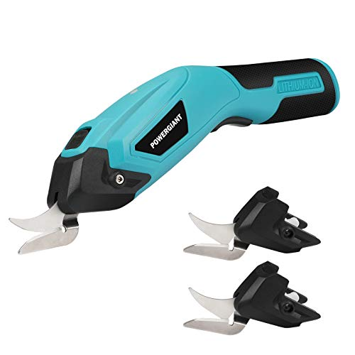 Electric Scissors, POWERGIANT Cordless Electric Scissors for Cutting Fabric, Cardboard, Crystal Plate, Cloth, Leather, Carpet, Paper- Electric Shears Cutting Tools with 2 Extra Blades (Blue)