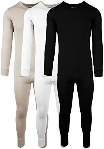 Men's 3 Pack 100% Cotton Fleece Lined Base Layer Thermal Underwear 2 Piece Set
