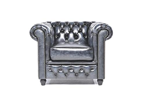 The Original Chesterfield Full Real Hand Washed Leather 1 Seat, 100%, Antique Blue, 100 x 92 x 79 cm