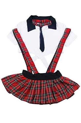 YUANMO Frauen Schulmädchen Outfit Dessous Set Plus Size Rollenspiel Kostüm Mini Plaid Rock mit Krawatte Top (M-XXXL)