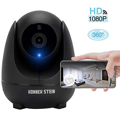 Konnek Stein Security Camera WiFi Home Security Systems Indoor 360 Degree Monitoring HD 1080P Motion Detection IR Night Vision App Remote Control Two-Way Audio Three Storage SD Card Slot for Pet Baby