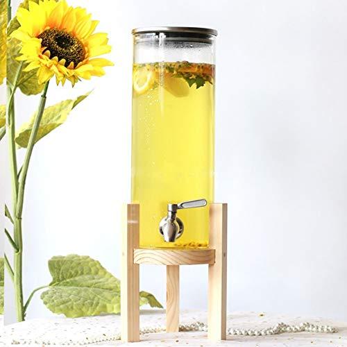 HyxqyJP Glazen kan, bestand tegen hoge temperaturen, van glas, met uitloopvrije schenktuit en houten standaard voor limonade/thee/water