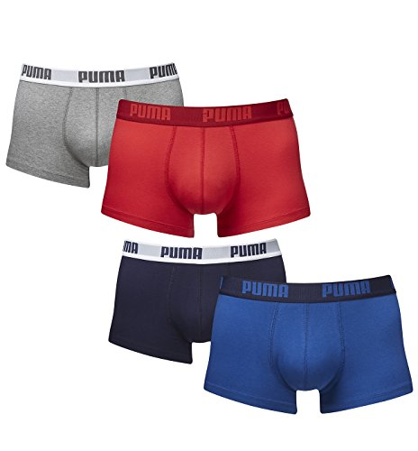 Puma Herren Shortboxer Basic Unterhosen 4er Pack in verschiedenen Farben 521025001 (2er red-grey (072)/2er true blue (420), S)