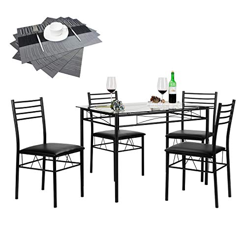 VECELO Dining Table Set with 4 Chairs [4 Placemats Included], Black
