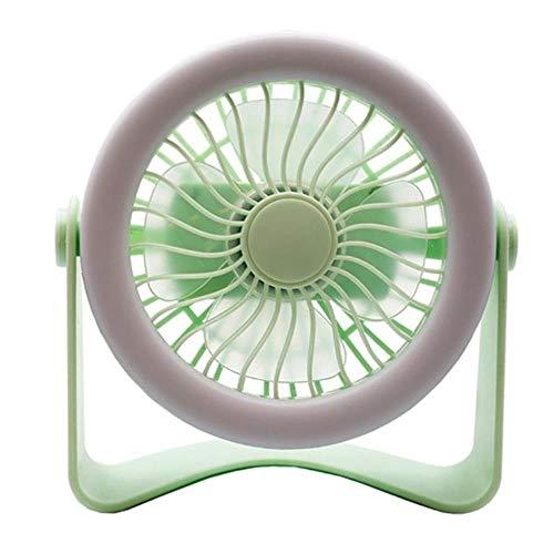 PJY eenvoudige tafel kleine ronde ventilator stille bediening met licht instelbare tilt 360 graden roterende USB Oplaadbare Huishoudelijke