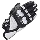 TRM S1 Leather Motorcycle Gloves Anti-Fall Non-Slip Breathable Full Finger Gloves for Outdoor Riding, Professional Racing Equipment,White,M