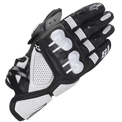 S1 Guantes de Cuero para Moto Anti-caída Antideslizante Respirable Guantes Llenos de Dedos para Equitación al Aire Libre, Equipamiento Profesional de Carreras,White,L