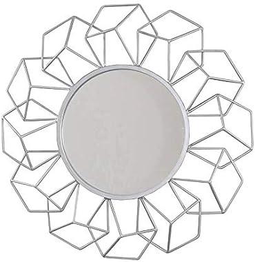 Your Home and Beyond Addison Collection - Espejo decorativo para pared, diseño geométrico 3D, color plateado