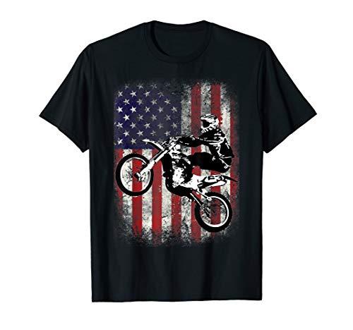 Dirt Bike American Flag Motocross Biker 4th of July T-Shirt