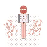 Micrófono Karaoke inalámbrico, micrófono Karaoke USB Bluetooth, portátil, grabación de cambio de voz, luz de disco para niños/adultos cantar, compatible con Android/IOS/PC/Smartphone (rosa)