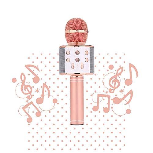 Karaoke-Mikrofon, kabellos, USB, Bluetooth, tragbar, Sprachwechsel, Disco für Kinder/Erwachsene, kompatibel mit Android/iOS/PC/Smartphone (Rosa)