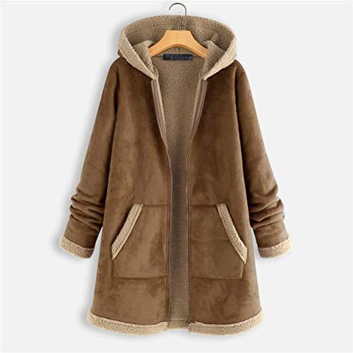 Male god Chaquetas de forro polar con cremallera para mujer, estilo vintage, con capucha, manga larga, abrigos cálidos (color: marrón, talla: XXXXL)