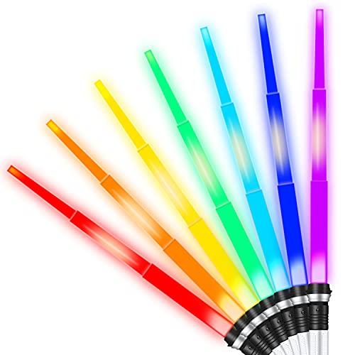 Spade Giocattolo,Zhangpu Spada Laser per Bambini,Cosplay Bastone Luminoso Giocattolo per Bambini Regalo per Ragazzi,Spada lampeggiante telescopica 2 PCS