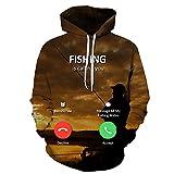 Lklik Sweatshirt Herren Und Damen Neutral Fishing 3D Digital Print Hooded- XXXL
