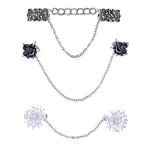 Xbeast Pullover Clip 3pcs Frau Cardigan Clip Pullover Clips mit Blumen Strass für Bluse Strickjacke Kleider Schal Jacke