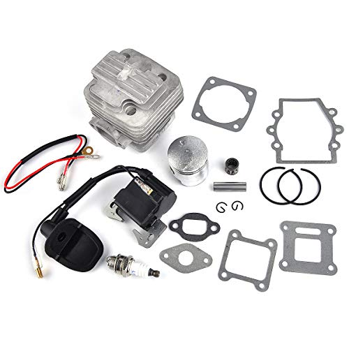40mm to 44mm Big Bore Heavy Duty Cylinder Top End Upgrade Kit for 2 Stroke 47cc 49cc Mini Quad Pocket Bike Ignition Coil Spark Plug 10mm Wrist Pin