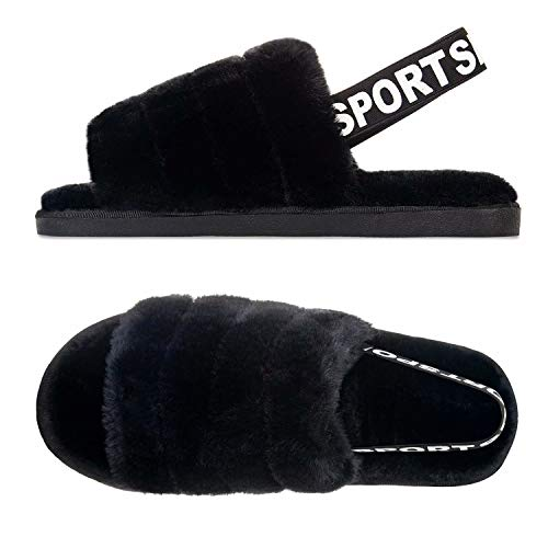 Damen Herren Hausschuhe Winter Memory Foam Pantoffeln Unisex Warm Plüsch und rutschfeste Indoor Bequem Slippers(Schwarz,46/47 EU)