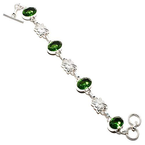 Joyas Paradise Amazing Verde peridoto Gema Pulsera Hecha a Mano 925 Plata de Ley – Ajustable y Flexible Longitud Cadena Pulsera – (SF-1196)