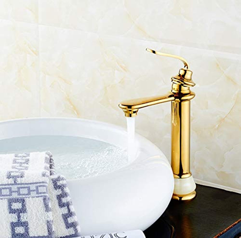 ROKTONG Faucet Hand Wash Face Bathroom Jade Hot And Cold Basin Faucet Copper Washbasin Single Hole Faucet
