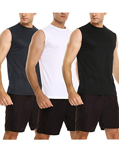 Sykooria Lot de 3 Débardeurs Compression Homme Séchage Rapide T-Shirt de Sport à sans Manches pour Jogging, Running, Fitness, Musculation, Gym, Escalade, Basket-Ball et Autres Sports Top