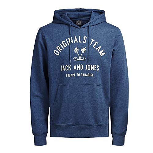 Sudadera Jack&Jones Hombre M Azul 12120892 JORTROPICAL Sweat Hood Ensign Blue
