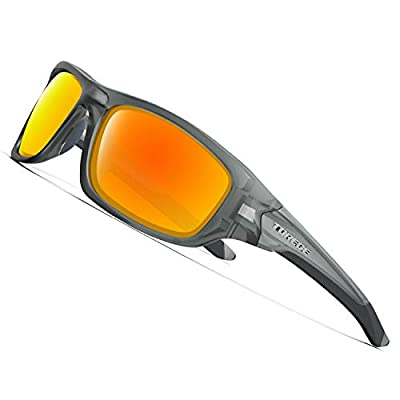 TOREGE Polarized Sports Sunglasses For Man Women Cycling Running Fishing Golf TR90 Unbreakable Frame TR011 -Upgrade (Matte Transparent Grey&Red Lens)