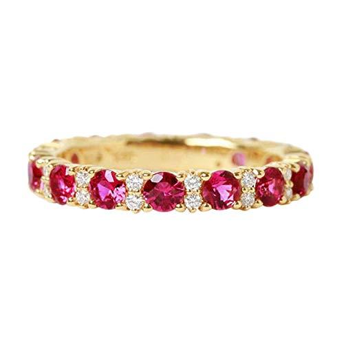 Beydodo Frauen Ringe Gold 750 mit Rubin und Diamond Verlobungsringe Gold Hochzeit Ring Gr.63 (20.1)