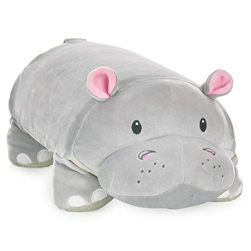 """MEMORY MATES Gloria The Hippo Memory Foam Pillow Plush with Kid's Diary That Stores in Belly Pocket, 15"""" Stuffed Animal, 6' Journal"""