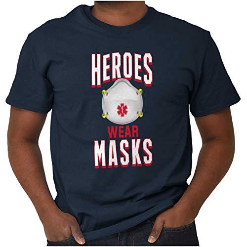 Heroes Wear Masks Nurses & Medical Professionals Unisex T Shirt Navy