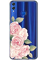 Oihxse Case Transparente Suave TPU Compatible con Huawei P Smart 2019/Honor 10 Lite Funda [Lindo Caricatura Flor Serie Dibujos] Cristal Protector Carcasa Anti Rasguños Bumper Cover-Rosa Rosa