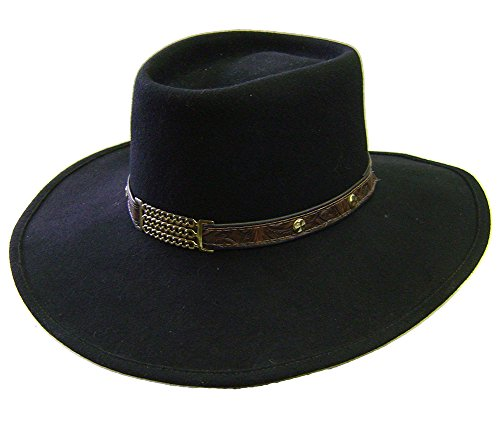 Modestone Espagnol Wool Felt Metal Chains Leather Hatband Studs Chapeaux Cowboy S