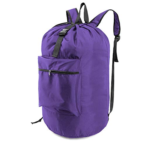 BeeGreen Laundry Backpack with Adjustable Shoulder Straps and Handle Portable Extra Large Heavy Duty Laundry Bag Durable for College Dorm Travel Camp Washable Purple
