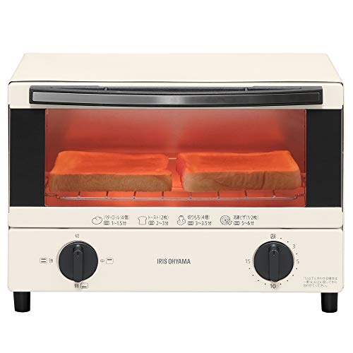アイリスオーヤマ オーブントースター トースト 2枚 温度調節機能 トレー付 ホワイト EOT-012-W