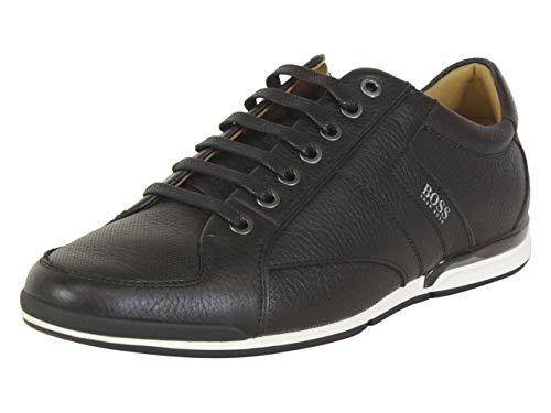 Hugo Boss Men's Shoes Saturn Lowp TBPF1 Grainy Leather Casual Sneaker by BOSS (10 M(D) US / 9 UK / 43 EU, Black)