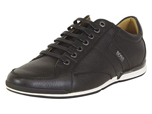 Hugo Boss Men's Shoes Saturn Lowp TBPF1 Grainy Leather Casual Sneaker by BOSS (8 M(D) US / 7 UK / 41 EU, Black)
